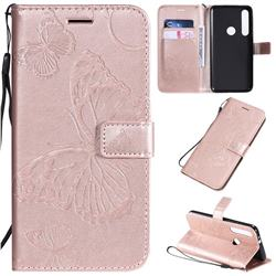 Embossing 3D Butterfly Leather Wallet Case for Motorola One Macro - Rose Gold