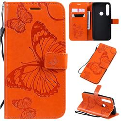 Embossing 3D Butterfly Leather Wallet Case for Motorola One Macro - Orange