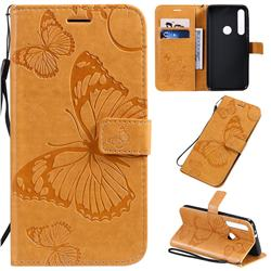Embossing 3D Butterfly Leather Wallet Case for Motorola One Macro - Yellow
