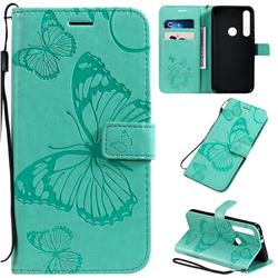 Embossing 3D Butterfly Leather Wallet Case for Motorola One Macro - Green