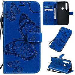 Embossing 3D Butterfly Leather Wallet Case for Motorola One Macro - Blue