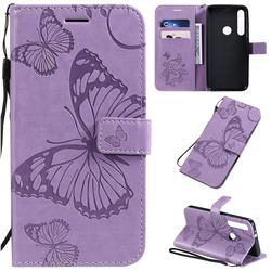 Embossing 3D Butterfly Leather Wallet Case for Motorola One Macro - Purple