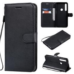 Retro Greek Classic Smooth PU Leather Wallet Phone Case for Motorola One Macro - Black