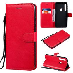 Retro Greek Classic Smooth PU Leather Wallet Phone Case for Motorola One Macro - Red