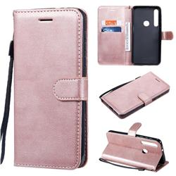 Retro Greek Classic Smooth PU Leather Wallet Phone Case for Motorola One Macro - Rose Gold