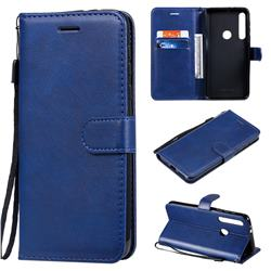 Retro Greek Classic Smooth PU Leather Wallet Phone Case for Motorola One Macro - Blue