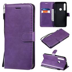 Retro Greek Classic Smooth PU Leather Wallet Phone Case for Motorola One Macro - Purple