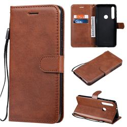 Retro Greek Classic Smooth PU Leather Wallet Phone Case for Motorola One Macro - Brown
