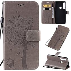 Embossing Butterfly Tree Leather Wallet Case for Motorola One Macro - Grey
