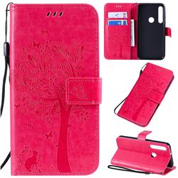 Embossing Butterfly Tree Leather Wallet Case for Motorola One Macro - Rose