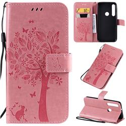 Embossing Butterfly Tree Leather Wallet Case for Motorola One Macro - Pink