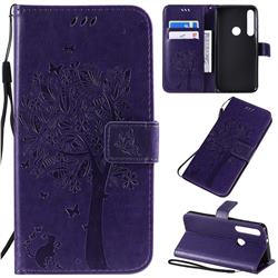Embossing Butterfly Tree Leather Wallet Case for Motorola One Macro - Purple