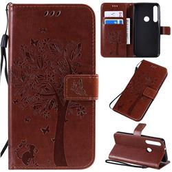 Embossing Butterfly Tree Leather Wallet Case for Motorola One Macro - Coffee