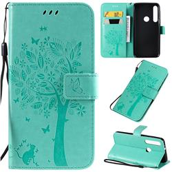 Embossing Butterfly Tree Leather Wallet Case for Motorola One Macro - Cyan