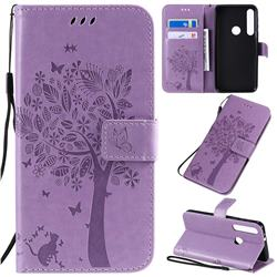 Embossing Butterfly Tree Leather Wallet Case for Motorola One Macro - Violet