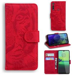 Intricate Embossing Tiger Face Leather Wallet Case for Motorola One Macro - Red