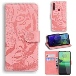 Intricate Embossing Tiger Face Leather Wallet Case for Motorola One Macro - Pink