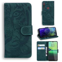 Intricate Embossing Tiger Face Leather Wallet Case for Motorola One Macro - Green