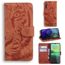 Intricate Embossing Tiger Face Leather Wallet Case for Motorola One Macro - Brown