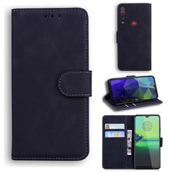 Retro Classic Skin Feel Leather Wallet Phone Case for Motorola One Macro - Black