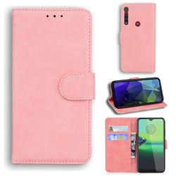 Retro Classic Skin Feel Leather Wallet Phone Case for Motorola One Macro - Pink