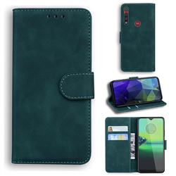Retro Classic Skin Feel Leather Wallet Phone Case for Motorola One Macro - Green