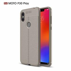 Luxury Auto Focus Litchi Texture Silicone TPU Back Cover for Motorola One (P30 Play) - Gray