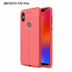 Luxury Auto Focus Litchi Texture Silicone TPU Back Cover for Motorola One (P30 Play) - Red