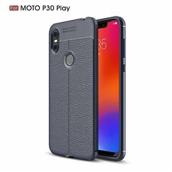 Luxury Auto Focus Litchi Texture Silicone TPU Back Cover for Motorola One (P30 Play) - Dark Blue
