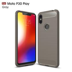 Luxury Carbon Fiber Brushed Wire Drawing Silicone TPU Back Cover for Motorola One (P30 Play) - Gray