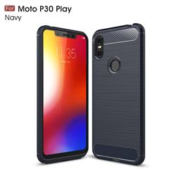 Luxury Carbon Fiber Brushed Wire Drawing Silicone TPU Back Cover for Motorola One (P30 Play) - Navy