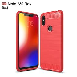 Luxury Carbon Fiber Brushed Wire Drawing Silicone TPU Back Cover for Motorola One (P30 Play) - Red