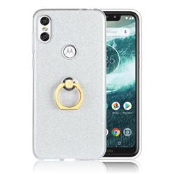 Luxury Soft TPU Glitter Back Ring Cover with 360 Rotate Finger Holder Buckle for Motorola One (P30 Play) - White