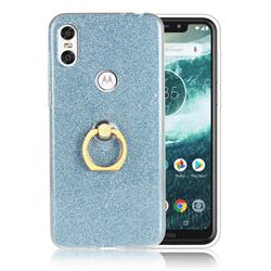 Luxury Soft TPU Glitter Back Ring Cover with 360 Rotate Finger Holder Buckle for Motorola One (P30 Play) - Blue