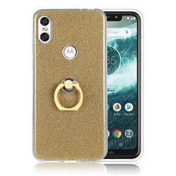 Luxury Soft TPU Glitter Back Ring Cover with 360 Rotate Finger Holder Buckle for Motorola One (P30 Play) - Golden