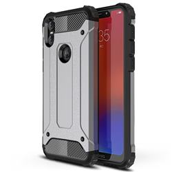 King Kong Armor Premium Shockproof Dual Layer Rugged Hard Cover for Motorola One (P30 Play) - Silver Grey