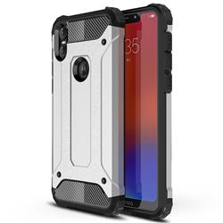 King Kong Armor Premium Shockproof Dual Layer Rugged Hard Cover for Motorola One (P30 Play) - Technology Silver