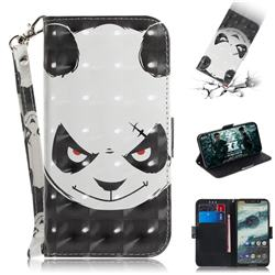 Angry Bear 3D Painted Leather Wallet Phone Case for Motorola One (P30 Play)