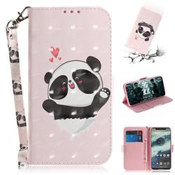 Heart Cat 3D Painted Leather Wallet Phone Case for Motorola One (P30 Play)