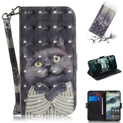 Cat Embrace 3D Painted Leather Wallet Phone Case for Motorola One (P30 Play)