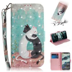 Black and White Cat 3D Painted Leather Wallet Phone Case for Motorola One (P30 Play)