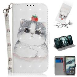 Cute Tomato Cat 3D Painted Leather Wallet Phone Case for Motorola One (P30 Play)