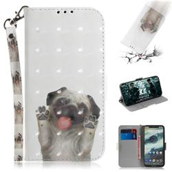 Pug Dog 3D Painted Leather Wallet Phone Case for Motorola One (P30 Play)