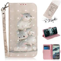 Three Squirrels 3D Painted Leather Wallet Phone Case for Motorola One (P30 Play)