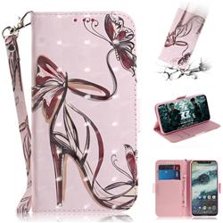 Butterfly High Heels 3D Painted Leather Wallet Phone Case for Motorola One (P30 Play)