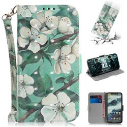 Watercolor Flower 3D Painted Leather Wallet Phone Case for Motorola One (P30 Play)