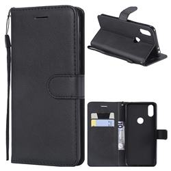 Retro Greek Classic Smooth PU Leather Wallet Phone Case for Motorola One (P30 Play) - Black