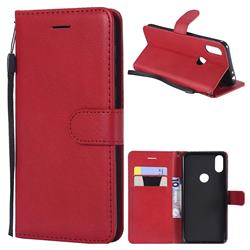 Retro Greek Classic Smooth PU Leather Wallet Phone Case for Motorola One (P30 Play) - Red