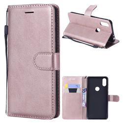Retro Greek Classic Smooth PU Leather Wallet Phone Case for Motorola One (P30 Play) - Rose Gold