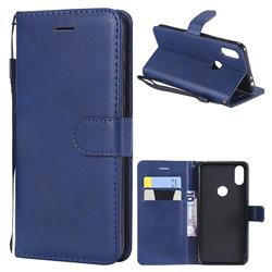 Retro Greek Classic Smooth PU Leather Wallet Phone Case for Motorola One (P30 Play) - Blue